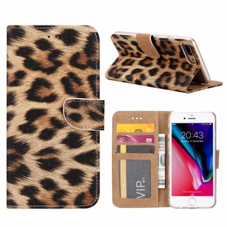 Panter print lederen Bookcase hoesje voor de Apple iPhone 8 Plus