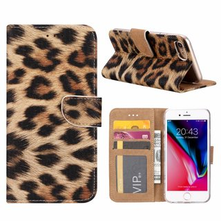 Panter print lederen Bookcase hoesje voor de Apple iPhone 8