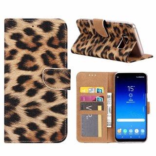Panter print lederen Bookcase hoesje voor de Samsung Galaxy S8 Plus
