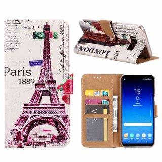 Parijs print lederen Bookcase hoesje voor de Samsung Galaxy S8 Plus - Wit