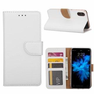Luxe Lederen Bookcase hoesje voor de Apple iPhone XS - Wit