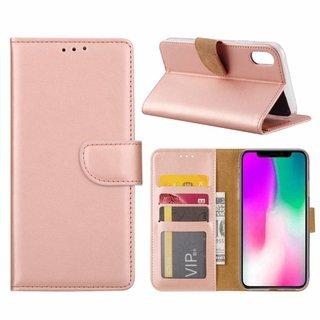 Luxe Lederen Bookcase hoesje voor de Apple iPhone XR - Metallic Roze