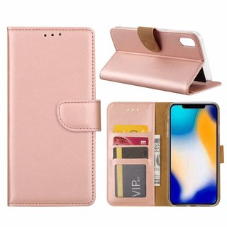 Luxe Lederen Bookcase hoesje voor de Apple iPhone XS Max - Metallic Roze