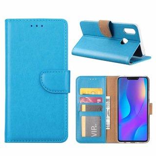 Luxe Lederen Bookcase hoesje voor de Huawei P Smart Plus - Blauw