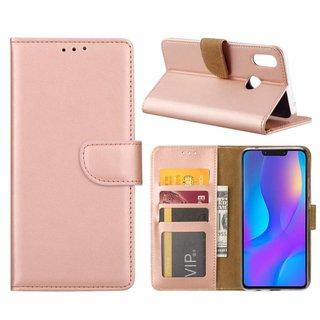 Luxe Lederen Bookcase hoesje voor de Huawei P Smart Plus - Metallic Roze