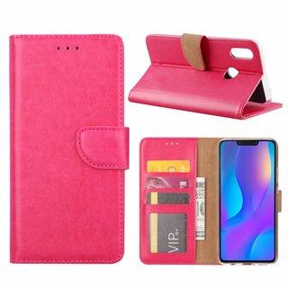 Luxe Lederen Bookcase hoesje voor de Huawei P Smart Plus - Roze