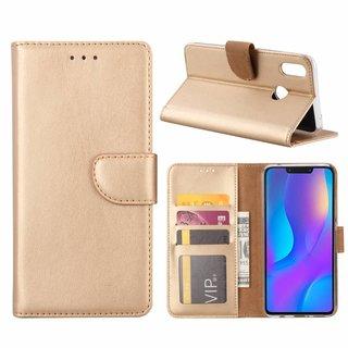Luxe Lederen Bookcase hoesje voor de Huawei P Smart Plus - Goud