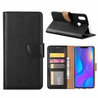 Luxe Lederen Bookcase hoesje voor de Huawei P Smart Plus - Zwart