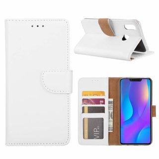 Luxe Lederen Bookcase hoesje voor de Huawei P Smart Plus - Wit