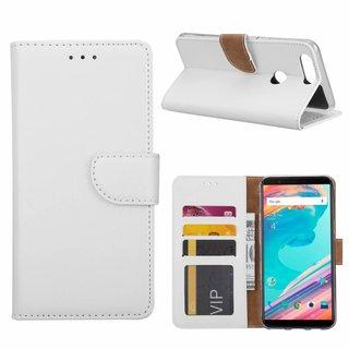 Luxe Lederen Bookcase hoesje voor de OnePlus 5 - Wit