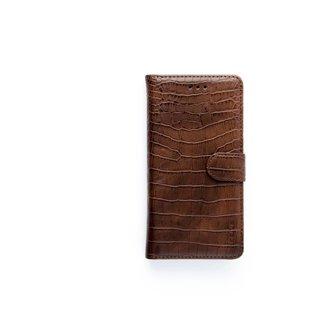 Krokodillen design Lederen Bookcase hoesje voor de Apple iPhone XS - Bruin