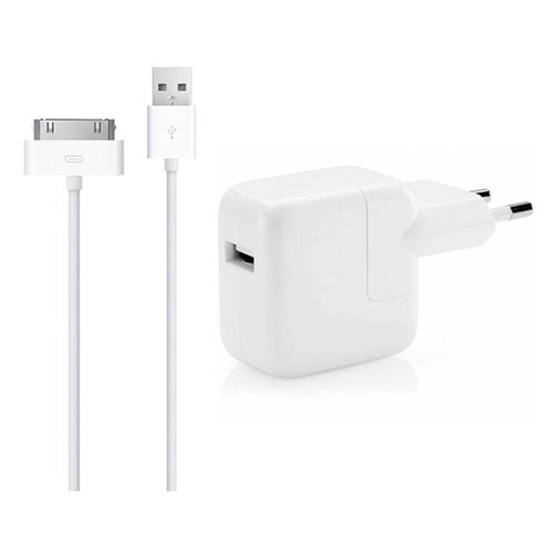 Apple 12W USB Originele Power Adapter Kop oplader met 1 Meter 30-Pens kabel