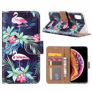 Flamingo print lederen Bookcase hoesje voor de Apple iPhone XR - Zwart