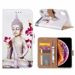 Buddha print lederen bookcase hoesje voor de Apple iPhone XR - Wit
