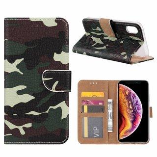 Leger Camouflage print lederen Bookcase hoesje voor de Apple iPhone XR