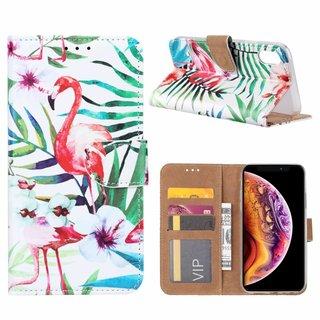 Flamingo print lederen Bookcase hoesje voor de Apple iPhone XR - Wit