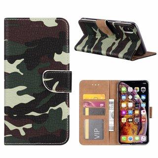 Leger Camouflage print lederen Bookcase hoesje voor de Apple iPhone XS Max