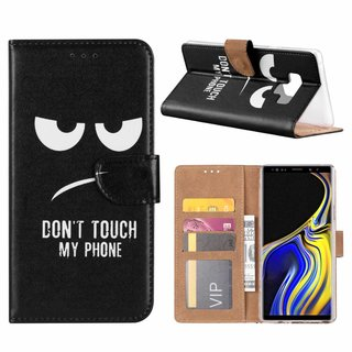 Don't Touch My Phone print lederen Bookcase hoesje voor de Samsung Galaxy Note 9 - Zwart