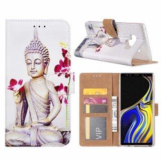 Buddha print lederen bookcase hoesje voor de Samsung Galaxy Note 9 - Wit