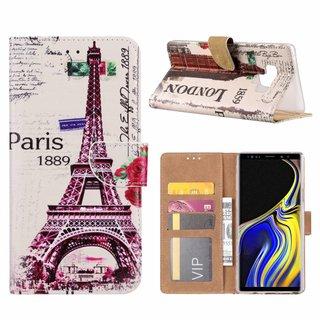 Parijs print lederen Bookcase hoesje voor de Samsung Galaxy Note 9 - Wit