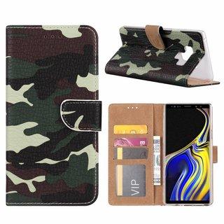 Leger Camouflage print lederen Bookcase hoesje voor de Samsung Galaxy Note 9