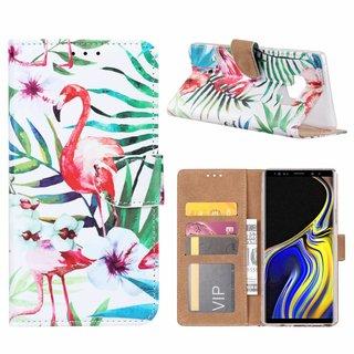 Flamingo print lederen Bookcase hoesje voor de Samsung Galaxy Note 9 - Wit