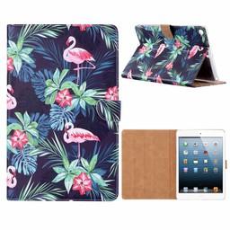 Flamingo print lederen standaard hoes voor de Apple iPad 2017/2018 (9.7 inch) - Zwart