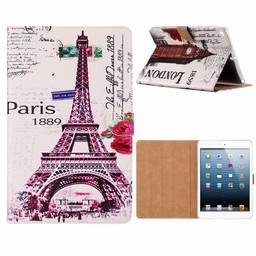 Parijs print lederen standaard hoes voor de Apple iPad 2017/2018 (9.7 inch) - Wit
