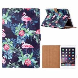 Flamingo print lederen standaard hoes voor de Apple iPad Air (9.7 inch) - Zwart