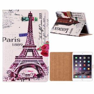 Parijs print lederen standaard hoes voor de Apple iPad Air (9.7 inch) - Wit