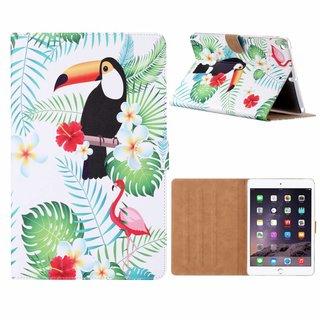 Toekan print lederen standaard hoes voor de Apple iPad Air (9.7 inch) - Wit