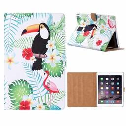Toekan print lederen standaard hoes voor de Apple iPad 2/3/4 (9.7 inch) - Wit
