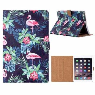 Flamingo print lederen standaard hoes voor de Apple iPad 2/3/4 (9.7 inch) - Zwart