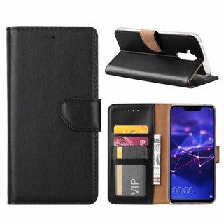 Luxe Lederen Bookcase hoesje voor de Huawei Mate 20 Lite - Zwart