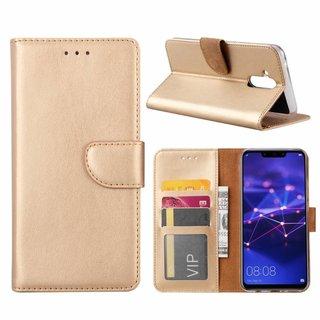 Luxe Lederen Bookcase hoesje voor de Huawei Mate 20 Lite - Goud