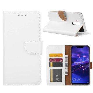 Luxe Lederen Bookcase hoesje voor de Huawei Mate 20 Lite - Wit