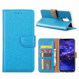 Luxe Lederen Bookcase hoesje voor de Huawei Mate 20 Lite - Blauw