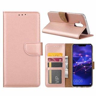 Luxe Lederen Bookcase hoesje voor de Huawei Mate 20 Lite - Metallic Roze