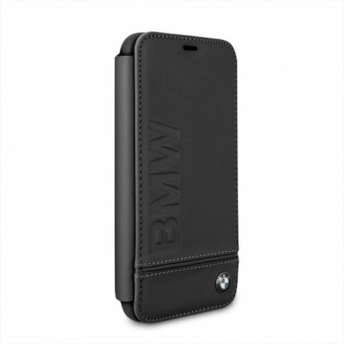 BMW Originele Signature Debossed Logo Folio Bookcase voor de Apple iPhone XS Max - Zwart