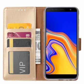 Luxe Lederen Bookcase hoesje voor de Samsung Galaxy J4 Plus 2018 - Goud