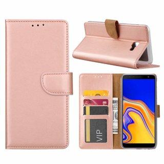 Luxe Lederen Bookcase hoesje voor de Samsung Galaxy J4 Plus 2018 - Metallic Roze