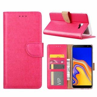 Luxe Lederen Bookcase hoesje voor de Samsung Galaxy J4 Plus 2018 - Roze