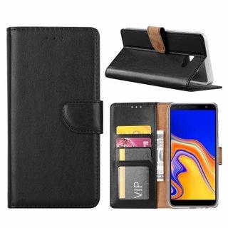 Luxe Lederen Bookcase hoesje voor de Samsung Galaxy J4 Plus 2018 - Zwart