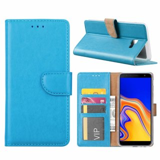 Luxe Lederen Bookcase hoesje voor de Samsung Galaxy J4 Plus 2018 - Blauw