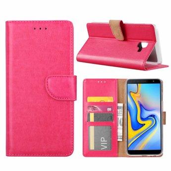 Luxe Lederen Bookcase hoesje voor de Samsung Galaxy J6 Plus 2018 - Roze