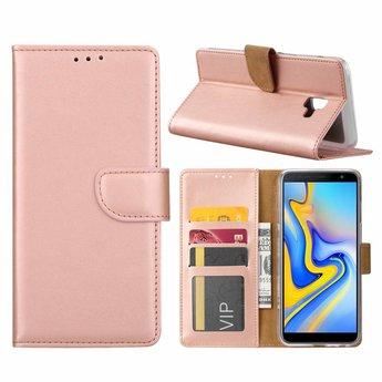 Luxe Lederen Bookcase hoesje voor de Samsung Galaxy J6 Plus 2018 - Metallic Roze