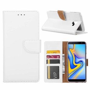 Luxe Lederen Bookcase hoesje voor de Samsung Galaxy J6 Plus 2018 - Wit