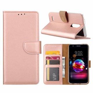 Luxe Lederen Bookcase hoesje voor de LG K11 2018 - Metallic Roze