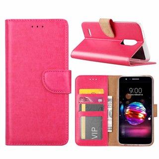 Luxe Lederen Bookcase hoesje voor de LG K11 2018 - Roze