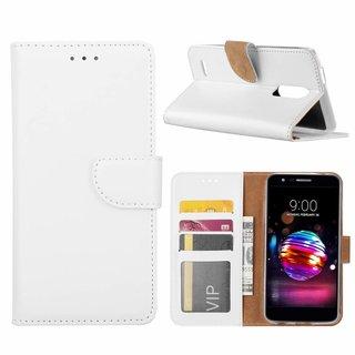 Luxe Lederen Bookcase hoesje voor de LG K11 2018 - Wit
